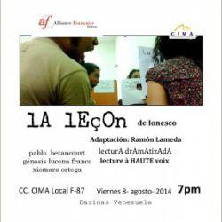 Lectura Dramatizada de La Leçon de Ionesco. Adaptación: Ramón Lameda