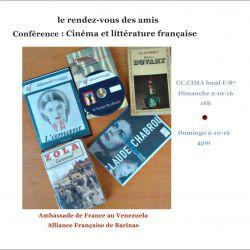 Le Rendez-vous des amis.  Conférence :  Cinéma et littérature française.