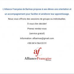 Service Gratuit de l'Alliance Francesa de Barinas !